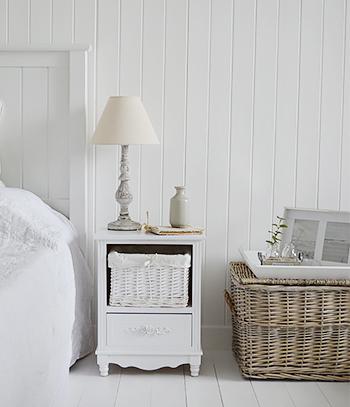 Rose white bedside cabinet