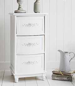 Rose white bedside cabinet with 3 drawers,  lovely pretty bedroom furniture for country cottage furniture and interiors