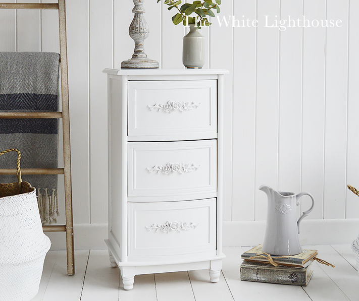 Rose white bedside cabinet with three drawers form The White Lighthouse Bedroom Furniture