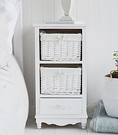 White Rose three drawer cottage bedroom storage furniture, offers lots of storage with the large basket drawers