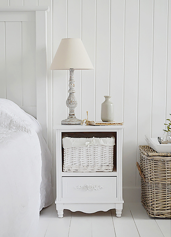 The White Lighthouse Rose Bedroom Furniture, a small bedside table with basket and drawers