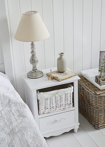 Rose white small bedside cabinet wit drawers for white country bedroom interior