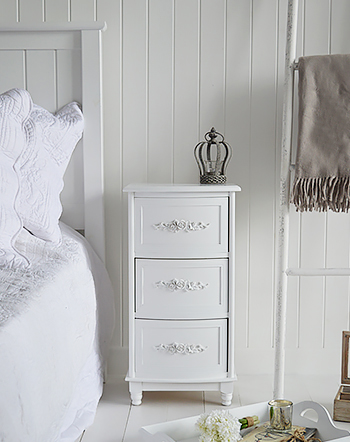 Rose white bedside cabinet with 3 drawers from The white Lighthouse