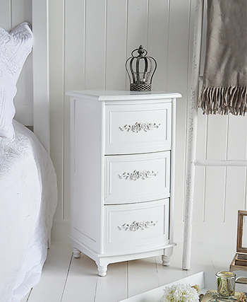 Rose white bedside table for country cottage bedroom interiors