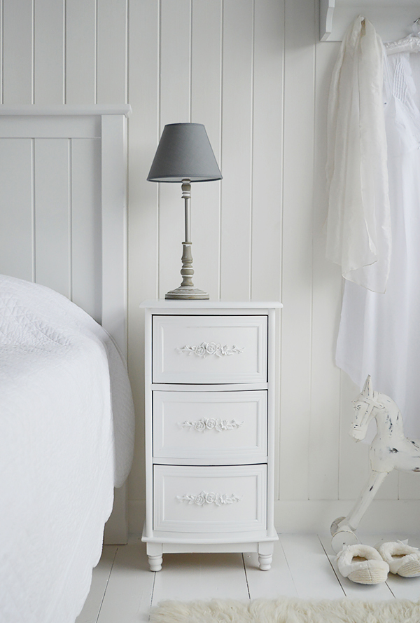 Rose white bedside table with three drawers and rose carved handles