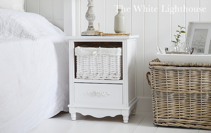 Rose white bedside table with basket and drawer from The White Lighthouse Bedroom Furniture