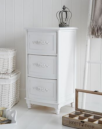 Rose white bedside cabinet with 3 drawers Living room and hall furniture