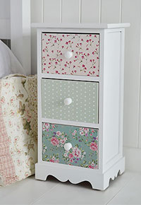 Rosewood white and pink cottage bedside table for cottage furniture