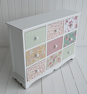 Rosewood White And Pink Floral Sideboard Chest Of Drawers