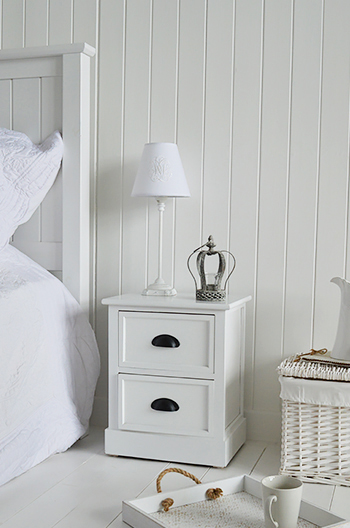 Southport white small bedside table with 2 drawers