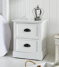 Southport white small 2 drawer bedside table cabinet for coastal bedroom interiors