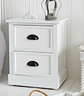 Southport white small 2 drawer low lamp table cabinet