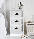 Southport white 3 drawer cabinet for bedside table for coastal bedroom decorating ideas
