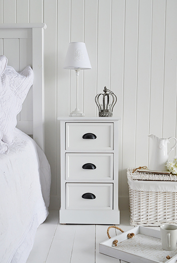 Southport white bedside cabinet with 3 drawers