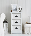 Southport white 3 drawer cabinet for lamp table