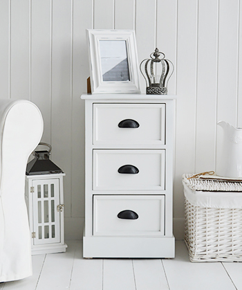 Southport white lamp table with 3 drawers