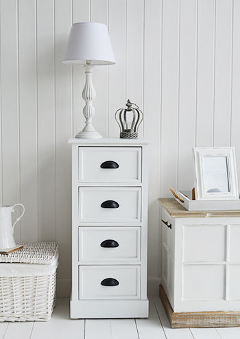 Southport white tallboy chest drawers for hall storage