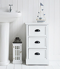 Southport white 3 drawer bathroom cabinet