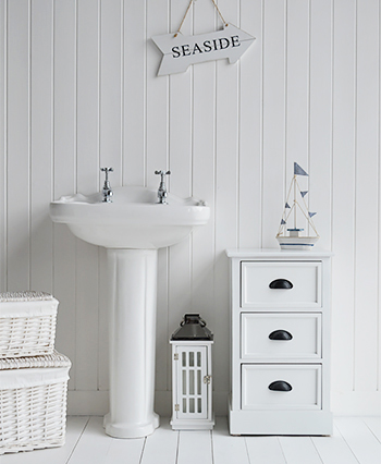 Southport white bathroom cabinet with 3 drawers