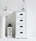 Southport white tall narrow chest drawers bathroom cabinet furniture