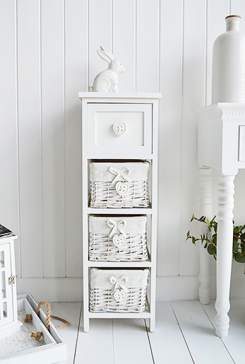 Sweetheart white narrow tall storage 23cm 25 cm wide with basket drawers