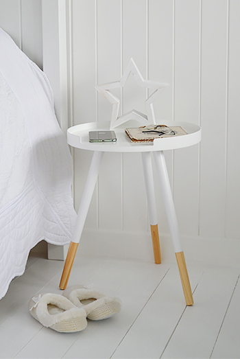 White tripod bedside table for lamp
