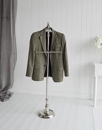 Kensington silver valet stand for elegant bedroom furniture