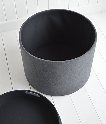 Westhampton grey storage foot stool in living room