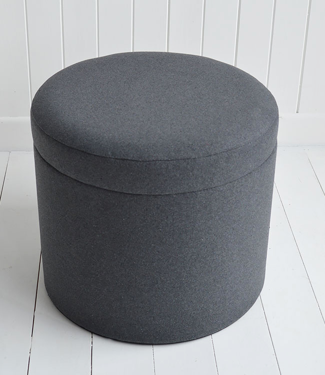 Westhampton grey storage dressing table stool - The White ...