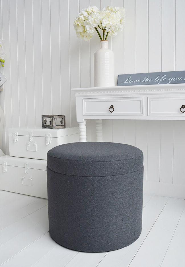 Westhampton Grey Storage Dressing Table Stool The White