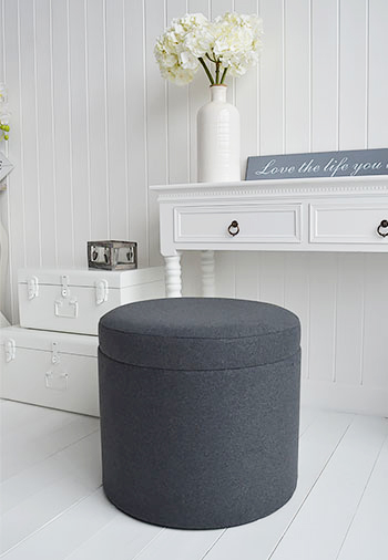 Westhampton soft grey storagefoot stool for luxurious living rooms