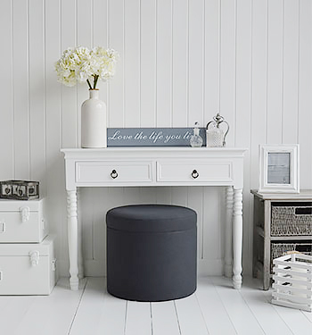 A dressing table stool with masses of storage space for bedroom furniture