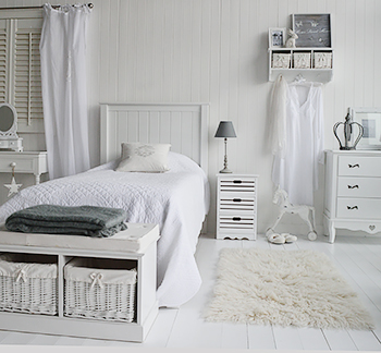 White bedroom furniture with drssing table, storage seat and bedside table