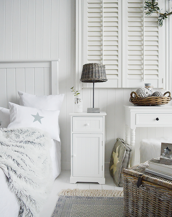 Maine white bedroom furniture, our bedside cabinet with a shelved cupboard and a drawer