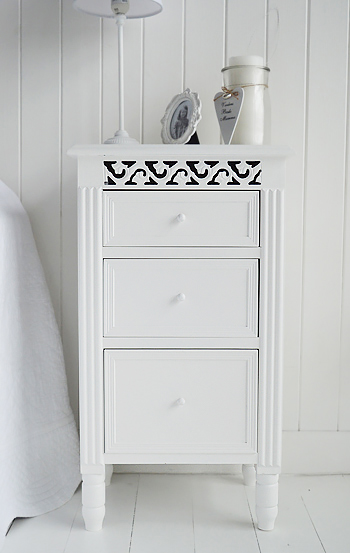White bedside cabinet from The White Lighthouse Bedroom Furniture