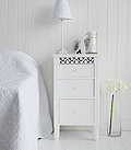 White lamp cabinet with three drawers