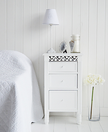 White bedside cabinet with three drawers from The New England range of white furniture for the bedroom
