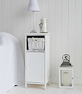 Freeport white narrow bedside cabinet with width of 30cm