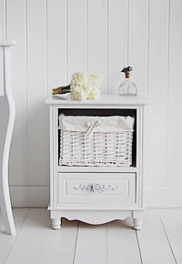 Rose white bedside cabinet with drawers