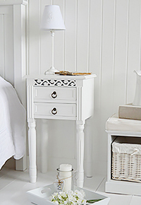 New England two drawer white bedside table