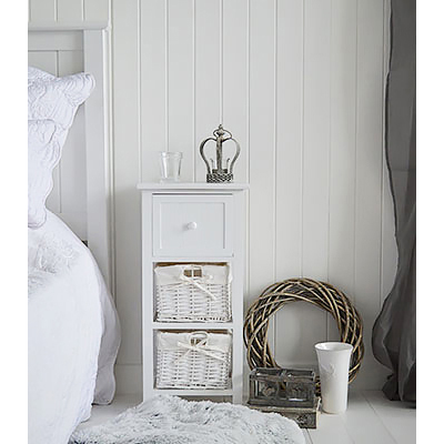 Bar Harbor narrow white bedside table 25 cm wide