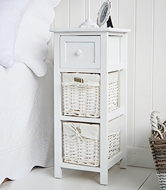 Bar Harbor narrow  bedside table 25cm with baskets and drawer. A very simple budget white bedsie table with baskets and drawers