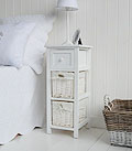 Bar Harbor narrow 25cm bedside table with baskets and drawer