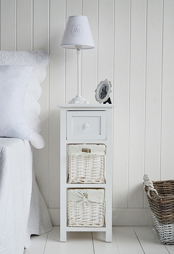Bar Harbor white bedside table with baskets and drawers for narrow white bedroom furniture