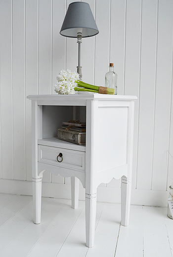 Cove Bay white bedside table. Beach Bedroom Furniture