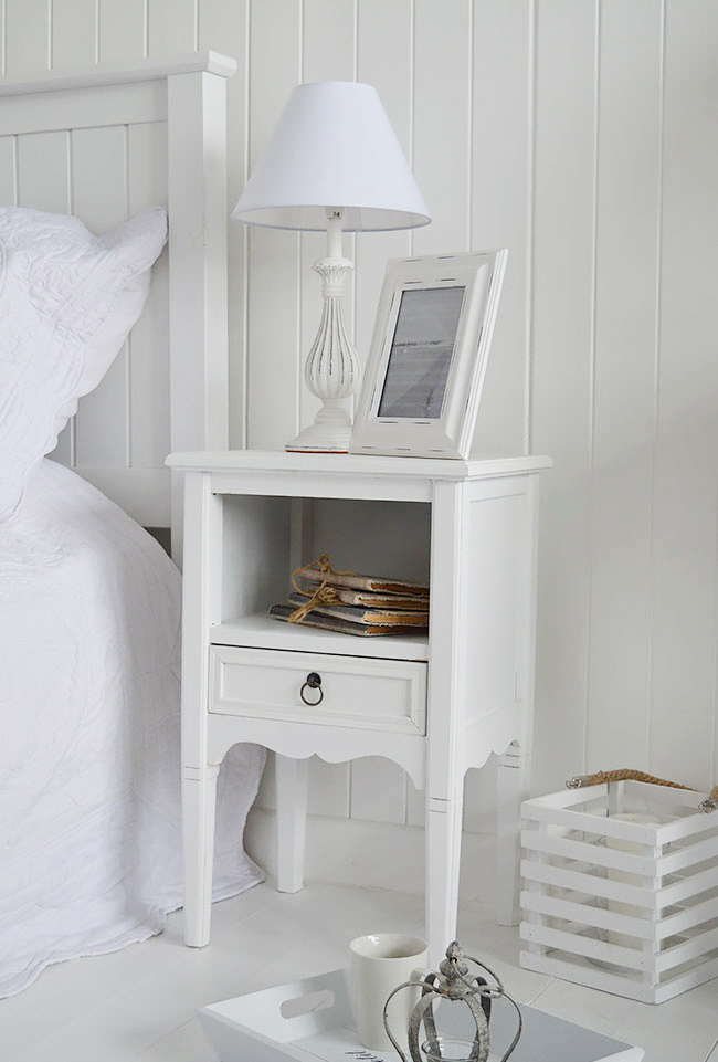 Cove Bay White Bedside Table Beach, White Beach House Bedroom Furniture