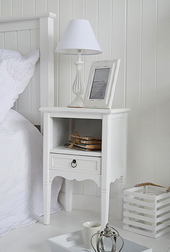 Cove Bay beach furniture, ideas on decorating a coastal home, white bedside table for a coastal white bedroom