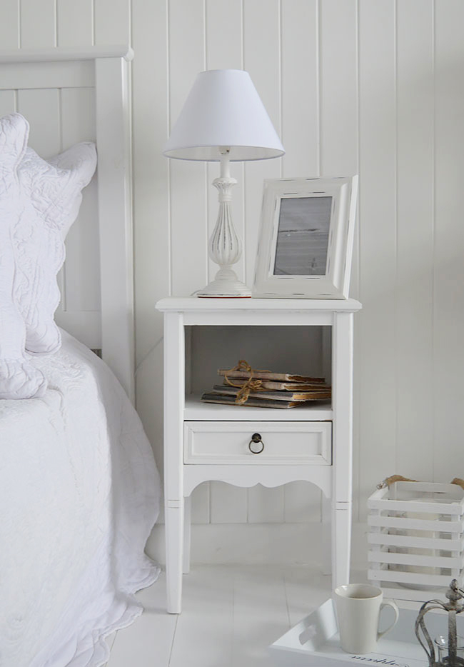 Coastal furniture for a white bedroom