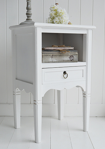 Cove Bay beach furniture, a white bedside lamp table with shelf and drawer