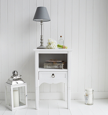 Cove Bay white bedside table. Beach House Coastal  furniture